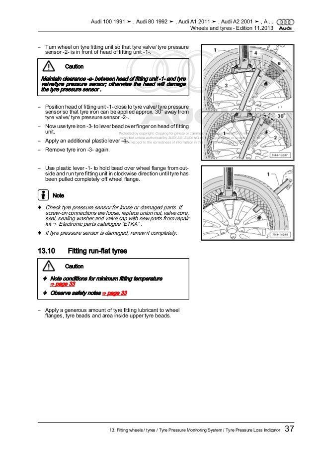 AUDI R e p a i r gr o u p 44 wheels, tires, vehicle geometry