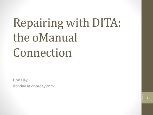 Repairing with DITA:  the oManual  Connection  Don Day  donday at donrday.com  1