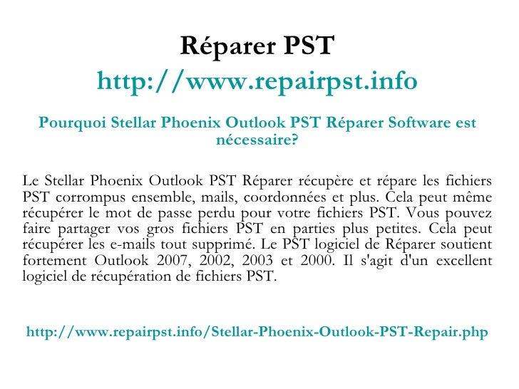 Réparer PST Slide 3