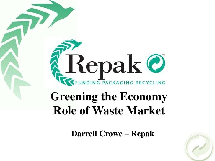 Greening the Economy<br />Role of Waste Market<br />Darrell Crowe – Repak <br />