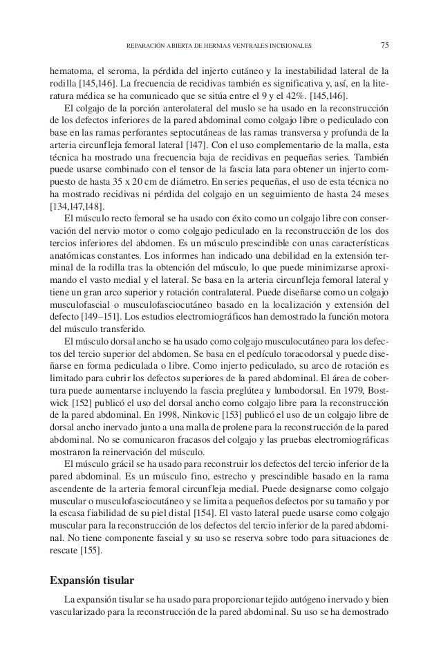 REPARACIÓN ABIERTA DE HERNIAS VENTRALES INCISIONALES 75 hematoma, el seroma, la pérdida del injerto cutáneo y la inestabil...