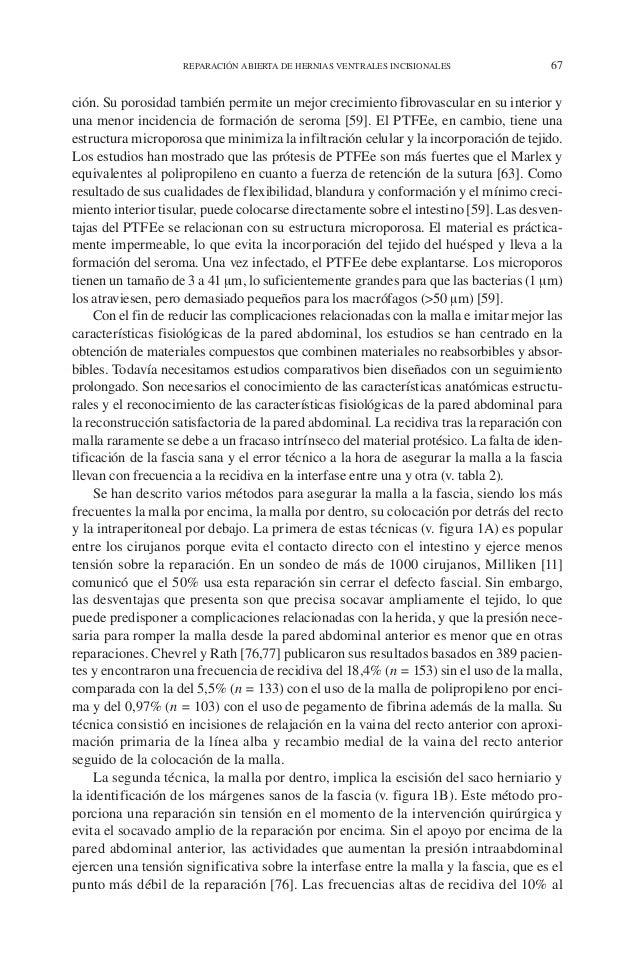 REPARACIÓN ABIERTA DE HERNIAS VENTRALES INCISIONALES 67 ción. Su porosidad también permite un mejor crecimiento fibrovascu...