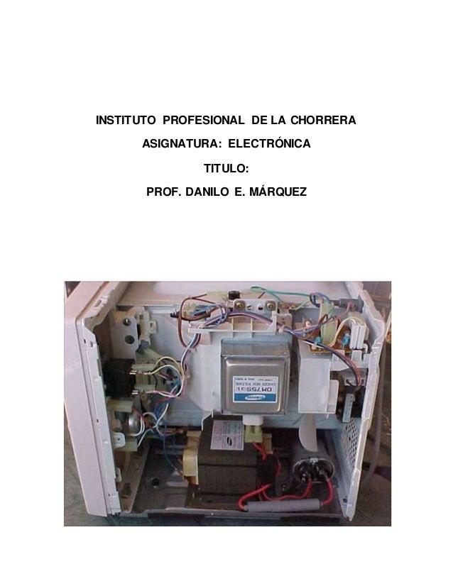 INSTITUTO PROFESIONAL DE LA CHORRERA ASIGNATURA: ELECTRÓNICA TITULO: PROF. DANILO E. MÁRQUEZ