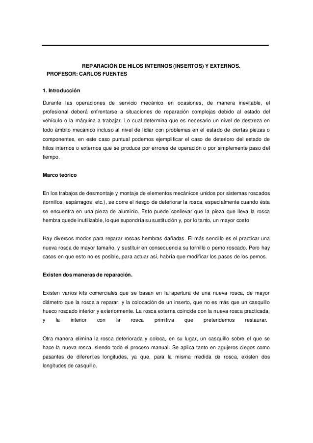 Reparacion de hilos externos y internos ( insertos )