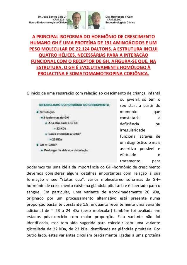 A PRINCIPAL ISOFORMA DO HORMÔNIO DE CRESCIMENTO HUMANO GH É UMA PROTEÍNA DE 191 AMINOÁCIDOS E UM PESO MOLECULAR DE 22.124 ...