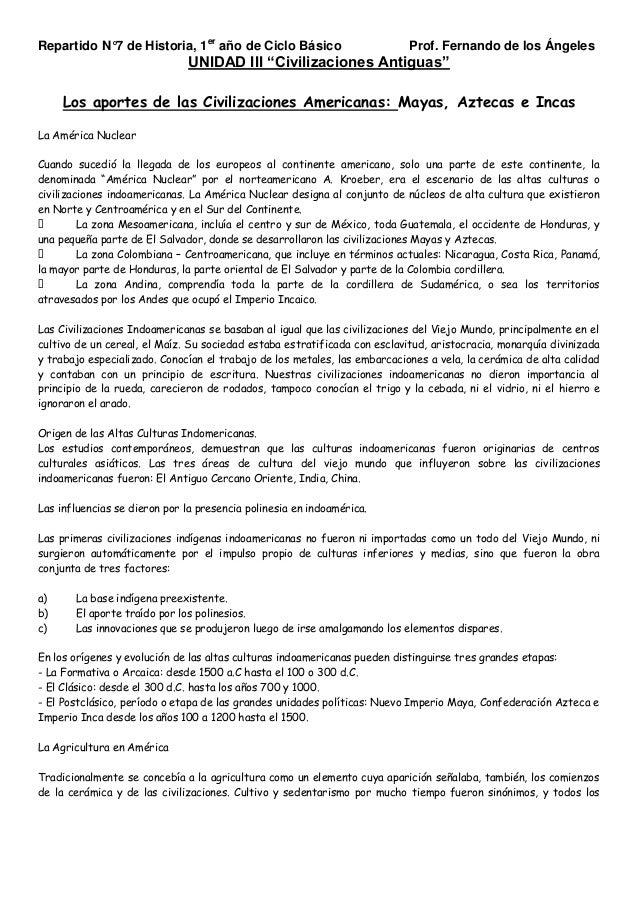 """Repartido N°7 de Historia, 1er año de Ciclo Básico  Prof. Fernando de los Ángeles  UNIDAD III """"Civilizaciones Antiguas"""" Lo..."""
