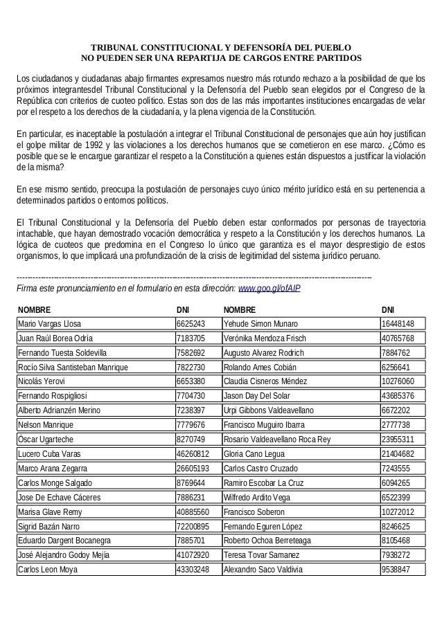 TRIBUNAL CONSTITUCIONAL Y DEFENSORÍA DEL PUEBLO NO PUEDEN SER UNA REPARTIJA DE CARGOS ENTRE PARTIDOS Los ciudadanos y ciud...