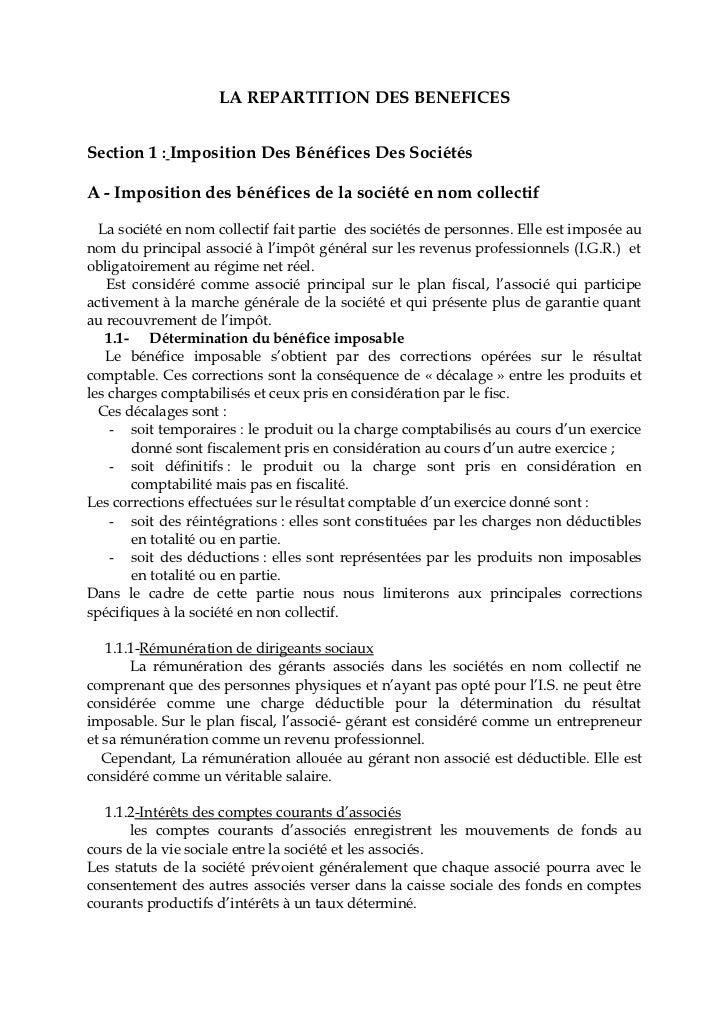 LA REPARTITION DES BENEFICESSection 1 : Imposition Des Bénéfices Des SociétésA - Imposition des bénéfices de la société en...