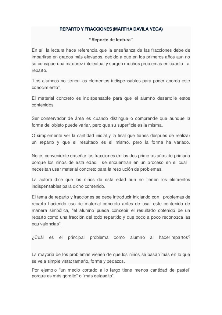 """REPARTO Y FRACCIONES (MARTHA DAVILA VEGA)                              """"Reporte de lectura""""En sí la lectura hace referenci..."""