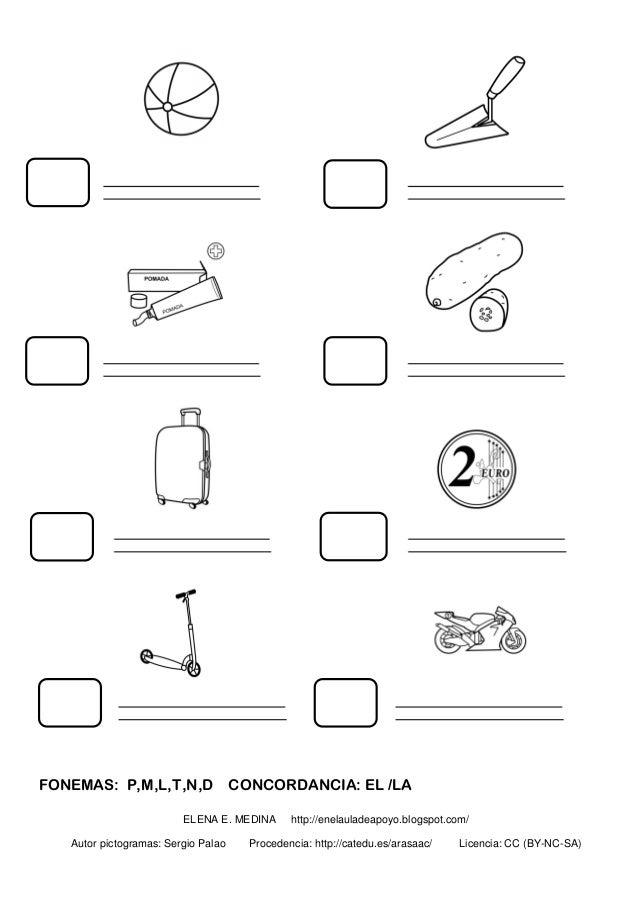FONEMAS: P,M,L,T,N,D CONCORDANCIA: EL /LA ELENA E. MEDINA http://enelauladeapoyo.blogspot.com/ Autor pictogramas: Sergio P...