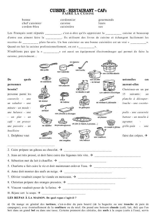 CUISINE - RESTAURANT – CAFÉ FAIRE LA CUISINE bonne chef cuisinier cordon-bleu cordonnier cuisine cuisinière gourmands leur...