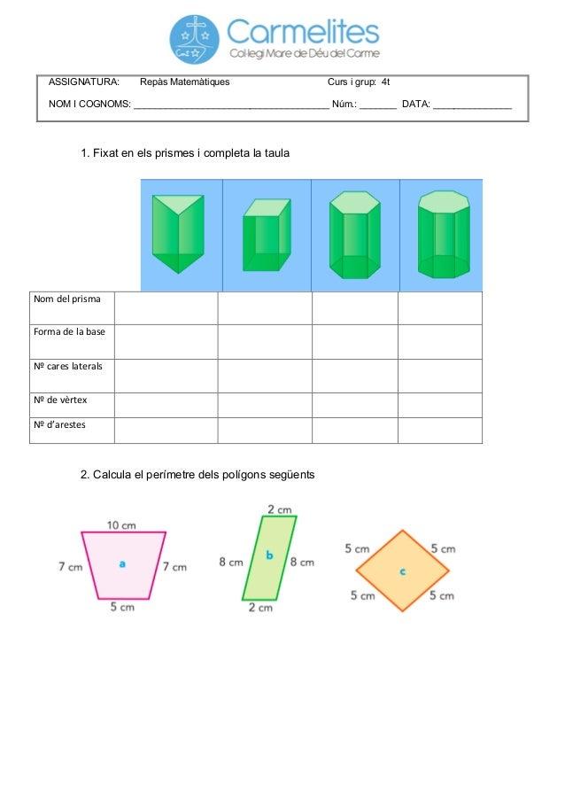 1. Fixat en els prismes i completa la taula                Nom  del  prisma               F...
