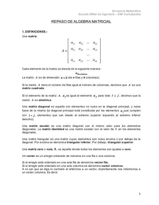 Economía Matemática                                              Escuela Militar de Ingeniería – EMI Cochabamba           ...