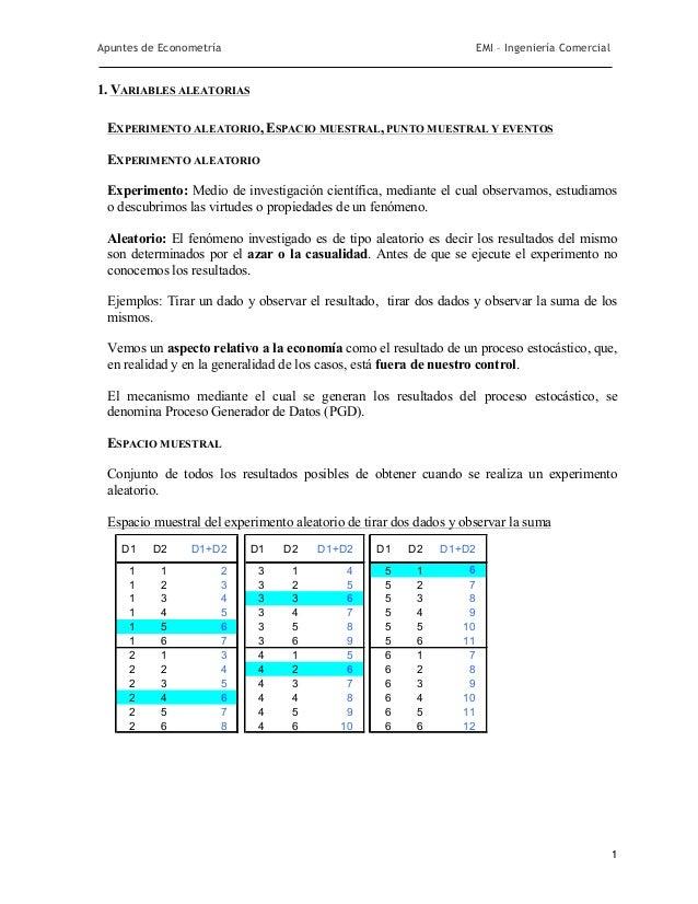 Apuntes de Econometría                                                EMI – Ingeniería Comercial1. VARIABLES ALEATORIAS EX...
