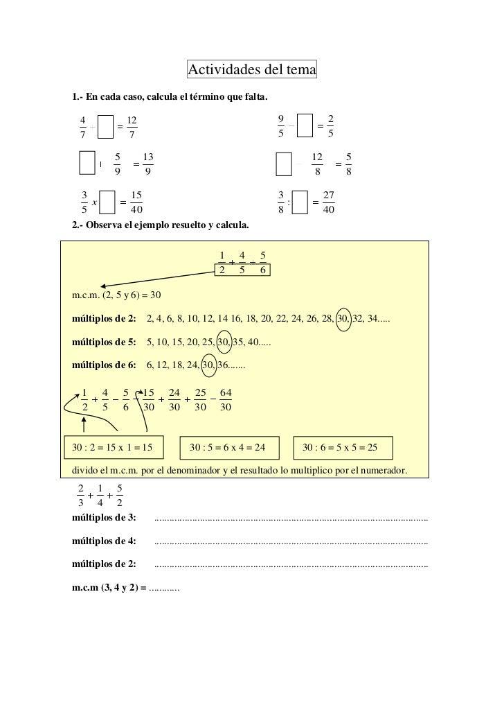 Actividades del tema1.- En cada caso, calcula el término que falta.  4             12                                     ...