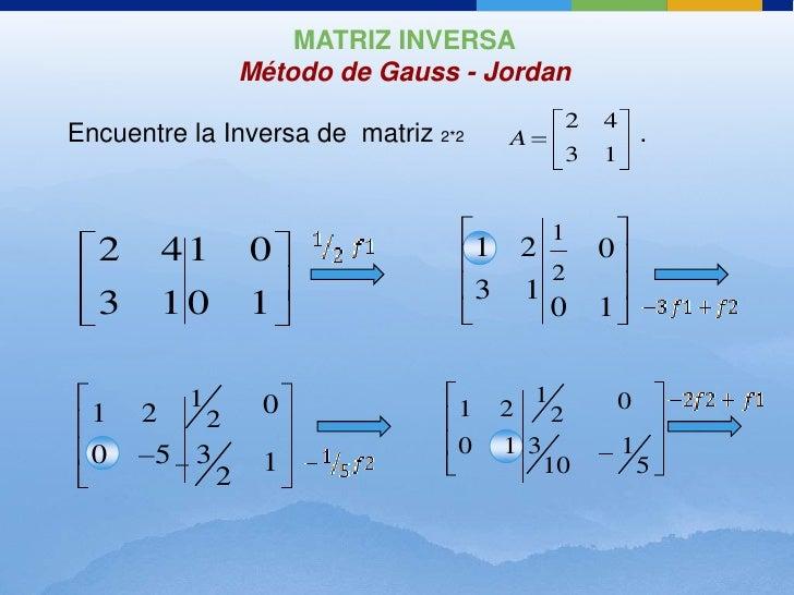 MATRIZ INVERSA               Método de Gauss - Jordan                                                     2   4Encuentre l...