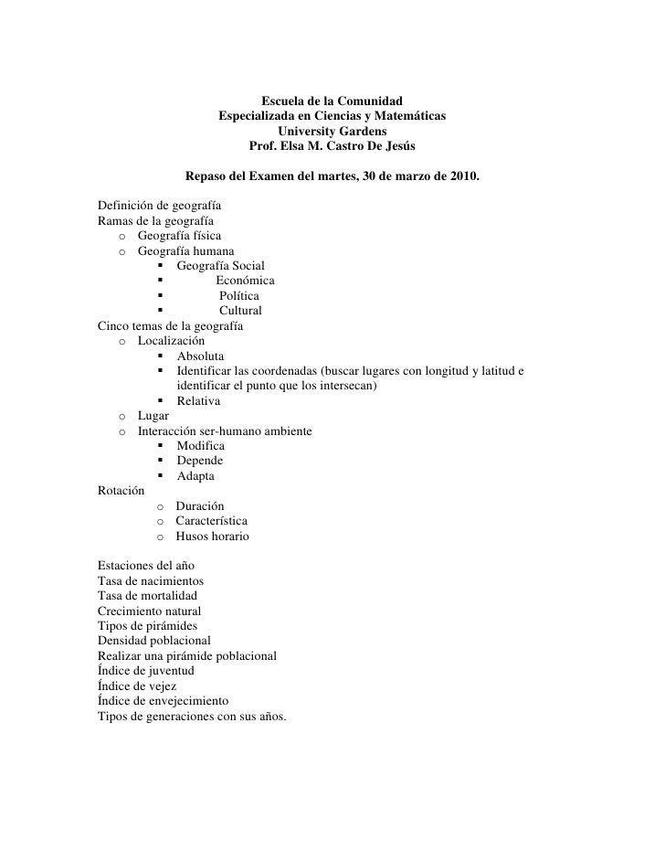 Escuela de la Comunidad<br />Especializada en Ciencias y Matemáticas<br />University Gardens<br />Prof. Elsa M. Castro De ...