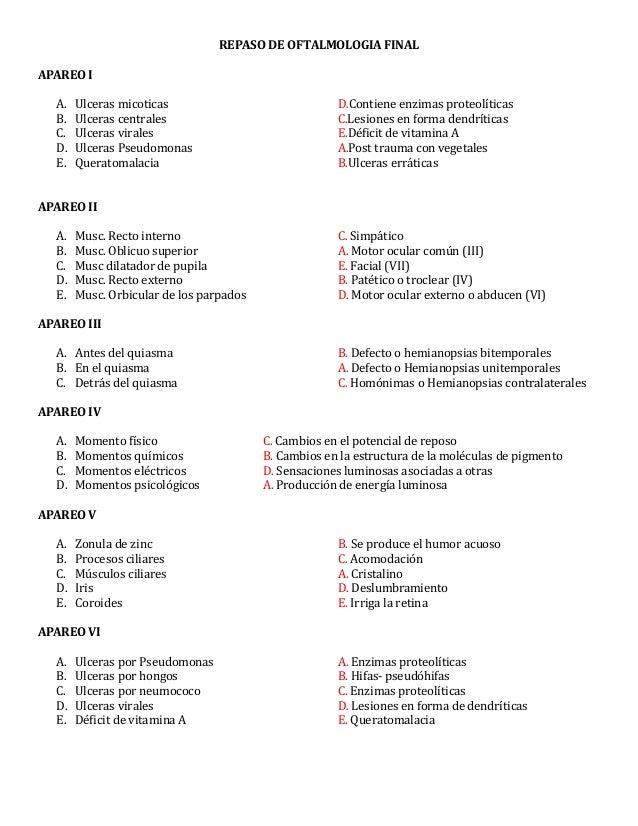 REPASO DE OFTALMOLOGIA FINALAPAREO IA. Ulceras micoticas D.Contiene enzimas proteolíticasB. Ulceras centrales C.Lesiones e...