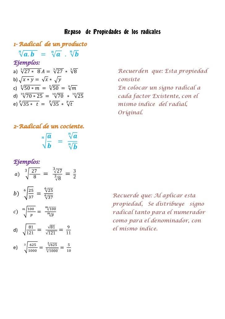 Repaso de Propiedades de los radicales1- Radical de un productoEjemplos:a)                                     Recuerden q...