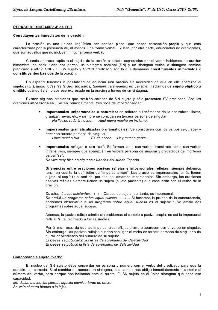"""Dpto. de Lengua Castellana y Literatura.       IES """"Aravalle"""". 4º de ESO. Curso 2007-2008.________________________________..."""