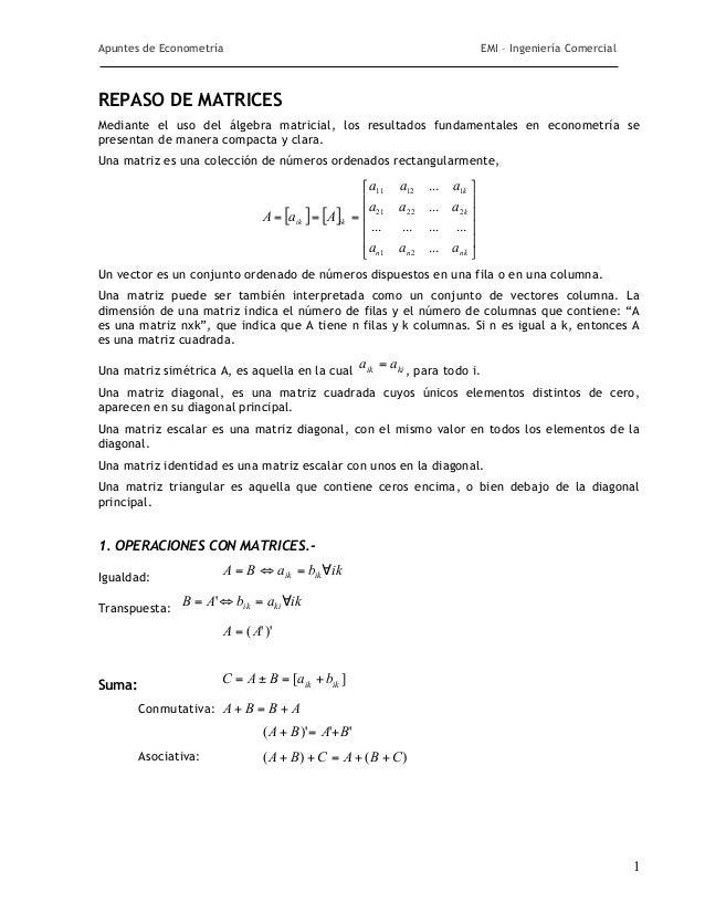 Apuntes de Econometría                                                              EMI – Ingeniería ComercialREPASO DE MA...