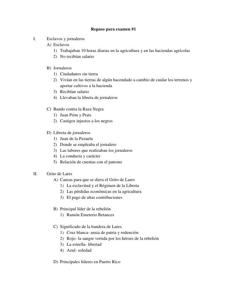 Repaso para examen #1<br /><ul><li>Esclavos y jornaleros