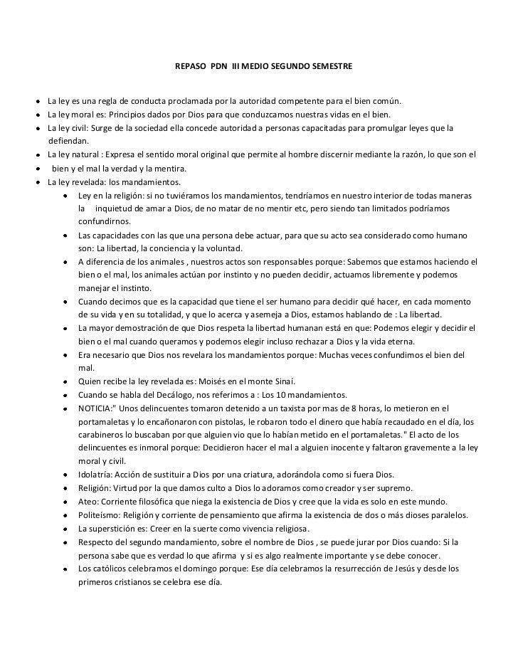 REPASO PDN III MEDIO SEGUNDO SEMESTRELa ley es una regla de conducta proclamada por la autoridad competente para el bien c...