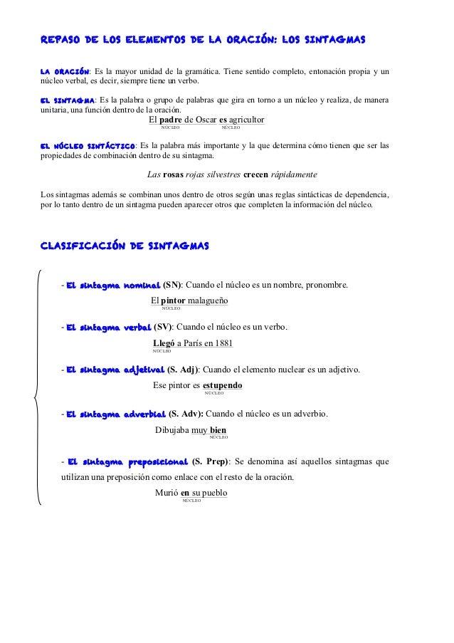 REPASO DE LOS ELEM ENTOS DE LA ORAC IÓN: LOS SINTAG MASLA ORACIÓN :    Es la mayor unidad de la gramática. Tiene sentido c...