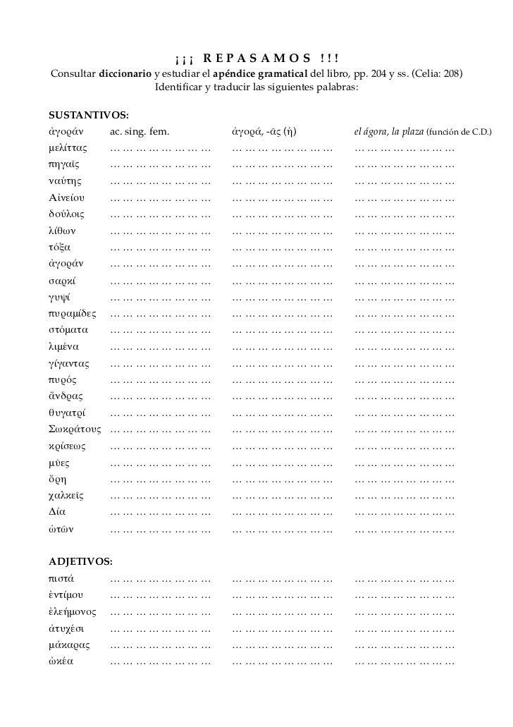 ¡ ¡ ¡ R E PA S A M O S ! ! !Consultar diccionario y estudiar el apéndice gramatical del libro, pp. 204 y ss. (Celia: 208) ...
