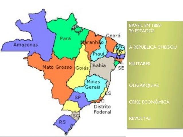 BRASIL EM 1889-20 ESTADOSA REPÚBLICA CHEGOUMILITARESOLIGARQUIASCRISE ECONÔMICAREVOLTAS