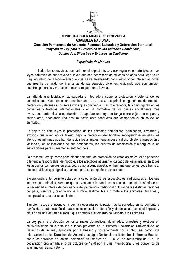REPUBLICA BOLIVARIANA DE VENEZUELA                                ASAMBLEA NACIONAL      Comisión Permanente de Ambiente, ...