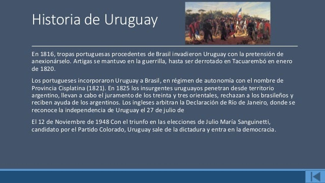 Datos de Uruguay La República Oriental del Uruguay toma su nombre de la ubicación de su territorio al oriente del río Urug...