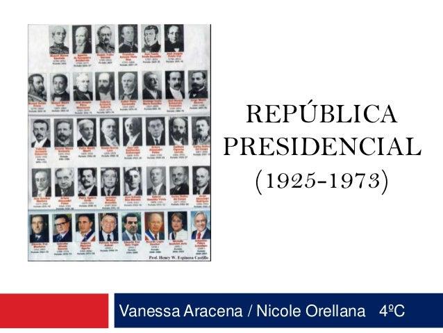 REPÚBLICA             PRESIDENCIAL               (1925-1973)Vanessa Aracena / Nicole Orellana 4ºC