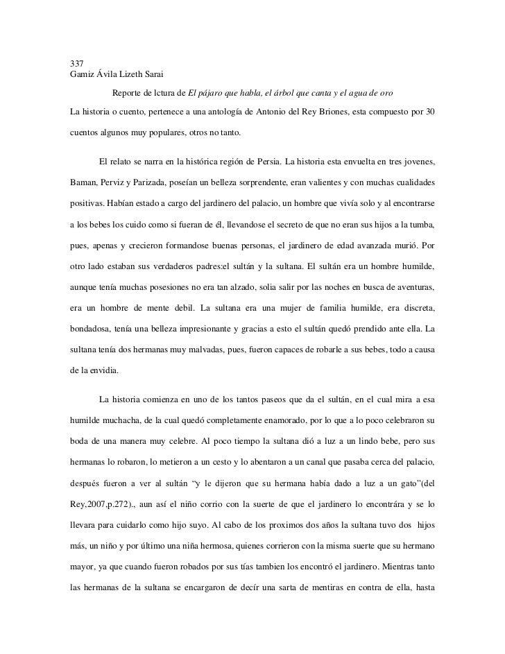 337Gamiz Ávila Lizeth Sarai            Reporte de lctura de El pájaro que habla, el árbol que canta y el agua de oroLa his...