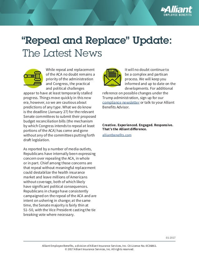 """Repeal and Replace"" Update: The Latest News While repeal and replacement of the ACA no doubt remains a priority of the ad..."