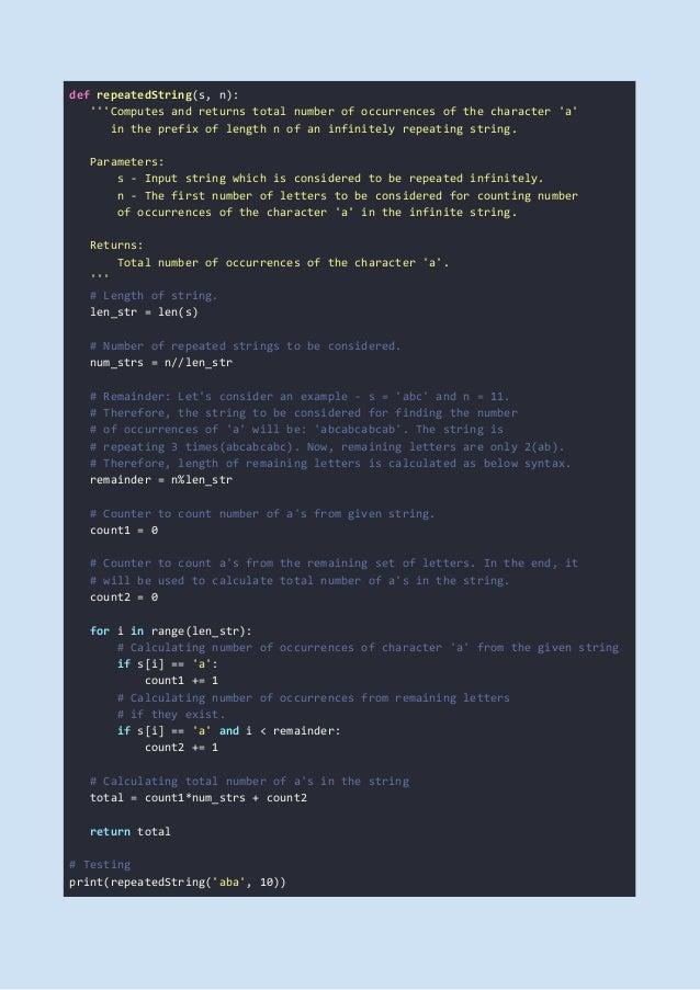 HackerRank Repeated String Problem