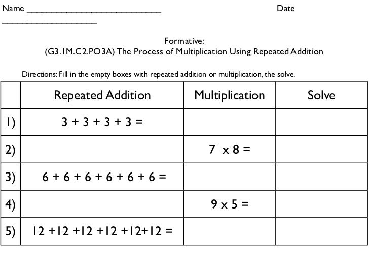 Worksheet Repeated Addition Worksheets 3rd Grade repeated addition hands on 43 name