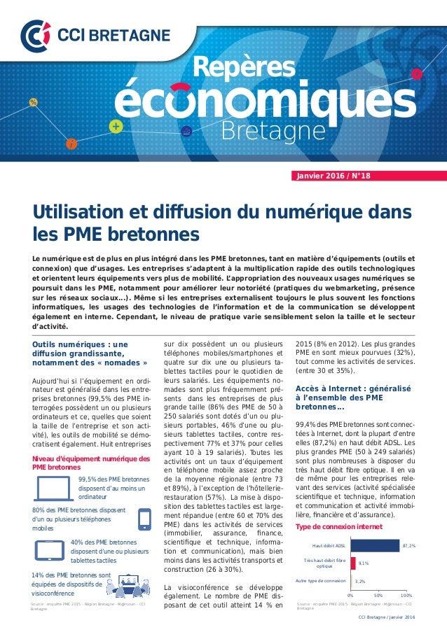 Utilisation et diffusion du numérique dans les PME bretonnes Le numérique est de plus en plus intégré dans les PME bretonn...