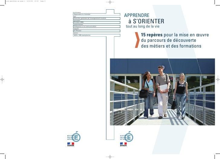 APPRENDRE  à S'ORIENTER tout au long de la vie           15 repères pour la mise en œuvre          du parcours de découver...