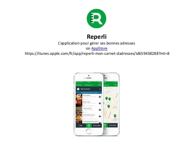 Reperli L'application pour gérer ses bonnes adresses on AppStore https://itunes.apple.com/fr/app/reperli-mon-carnet-dadres...