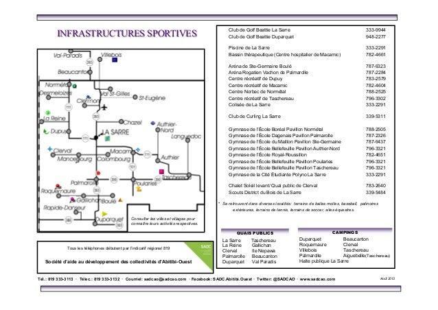 R pertoire des services en abitibi ouest for Club piscine taschereau