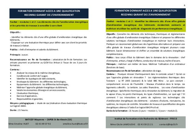 Repertoire des formations en mayenne sur la performance - Attestation fin de travaux artisan ...