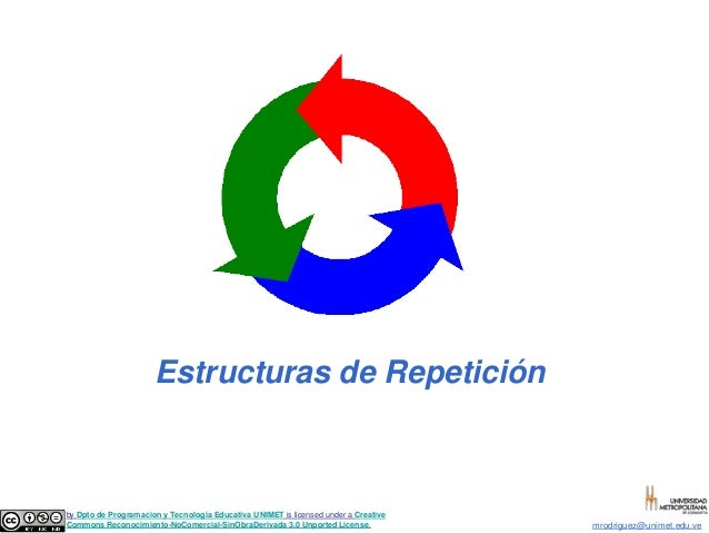 Estructuras de Repetición  Estructuras de Repetición  by Dpto de Programacion y Tecnologia Educativa UNIMET is licensed un...