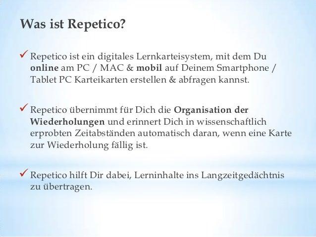 Wie funktioniert Repetico? Repetico ist eine digitale Lernkartei mit sechs Fächern. Du startest mit allen Deinen Karteik...