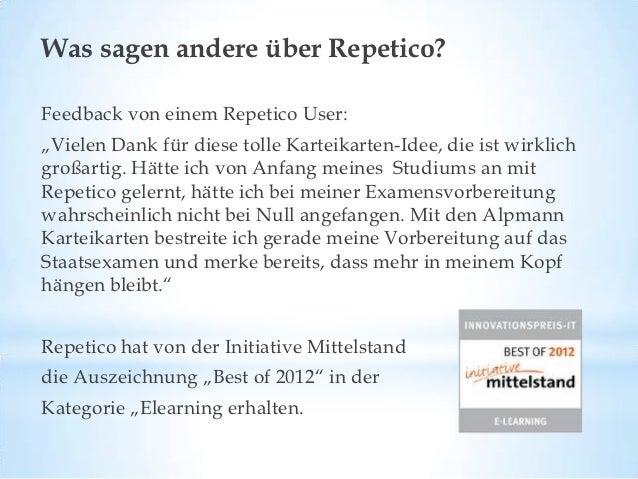 Jetzt gratis anmelden & Repetico kostenlos testen:            http://www.repetico.de                  Vielen Dank!