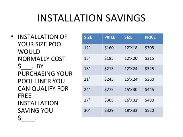 INSTALLATION SAVINGS• INSTALLATION OF   SIZE   PRICE   SIZE      PRICE  YOUR SIZE POOL    12'    $160    12'X18'   $305  W...