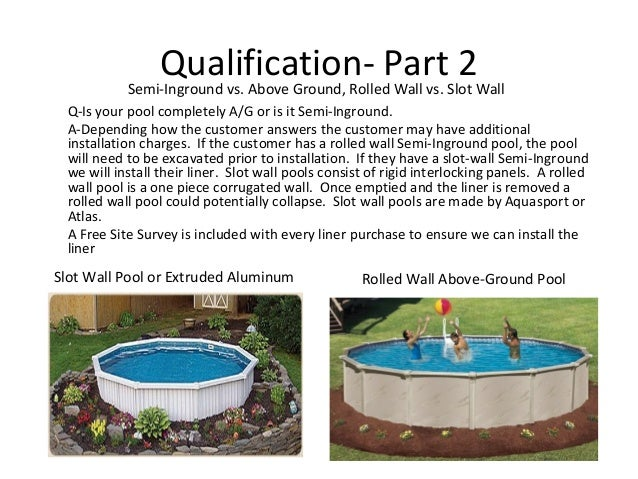 Qualification- Part 2           Semi-Inground vs. Above Ground, Rolled Wall vs. Slot Wall Q-Is your pool completely A/G or...