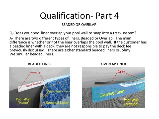 Qualification- Part 4                               BEADED OR OVERLAPQ- Does your pool liner overlap your pool wall or sna...