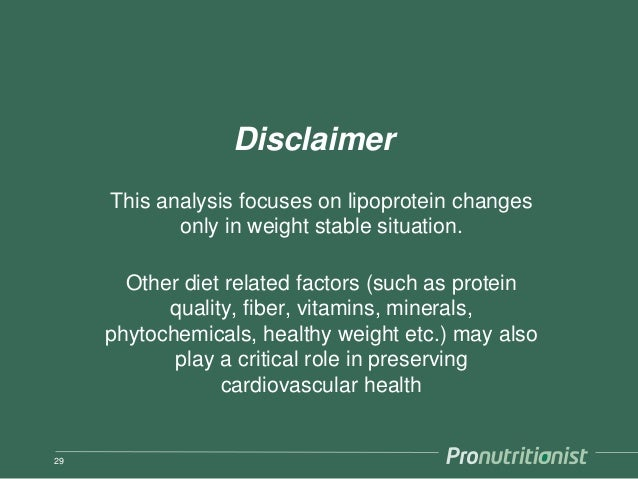 Disclaimer This analysis focuses on lipoprotein changes only in weight stable situation. Other diet related factors (such ...