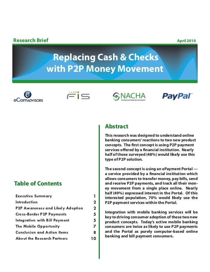 Research Brief                                                                   April 2010                Replacing Cash ...